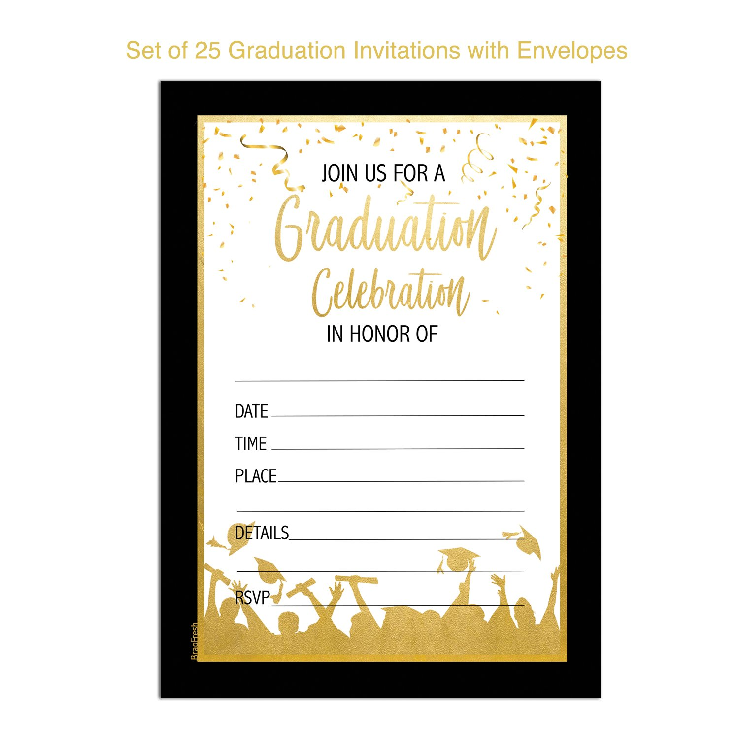 25 Graduation Party Invitations - Graduation Celebration Party Invites High School College Graduate by Brag Fresh (Image #2)