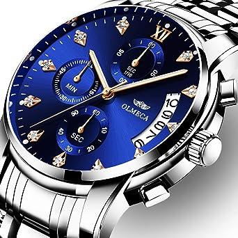 OLMECA Mens Watches Luxury Rhinestone Wristwatches Waterproof Fashion Quartz Watches Men Watches Stainless Steel