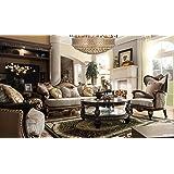 Bulgaria Black Wood Trim Sofa U0026 Loveseat U0026 Chair Set   Formal Living Room  Furniture
