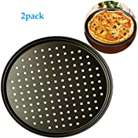 12.6inch Perforated Pizza Pan,2-Piece Set,Carbon Steel Nonstick Pizza Plate Dishes Holder Bakeware Home Kitchen Baking Tools