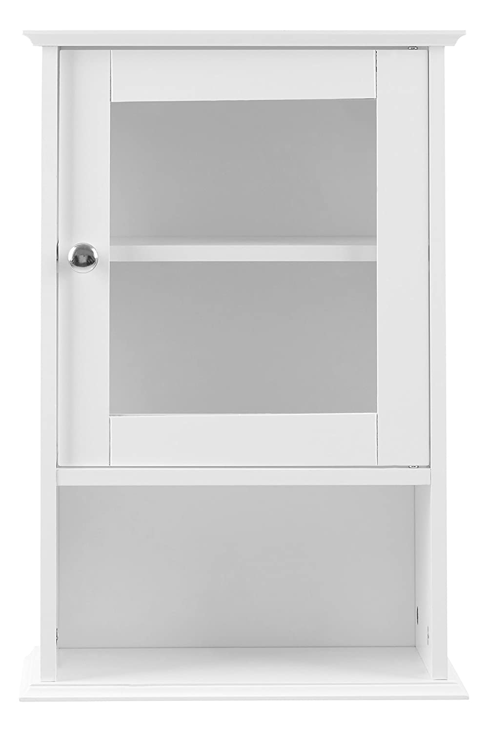 Premier Housewares Wall Cabinet with Glass Front Door and Shelf, 51 x 35 x 18 cm - White 2402057 A2980