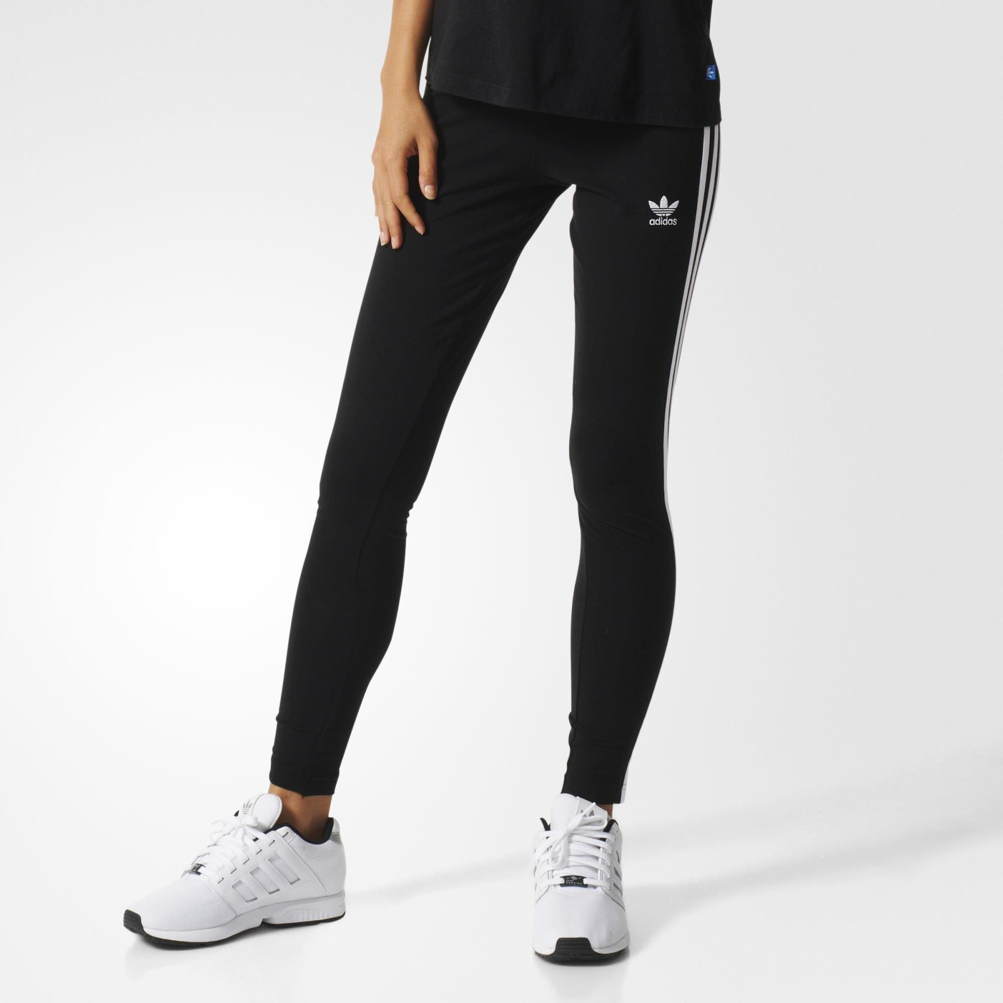 57ee799b3d5955 Galleon - Adidas Originals Women's 3-Stripes Leggings, Black/Trefoil Stripe,  Large (US Size) (US Size)