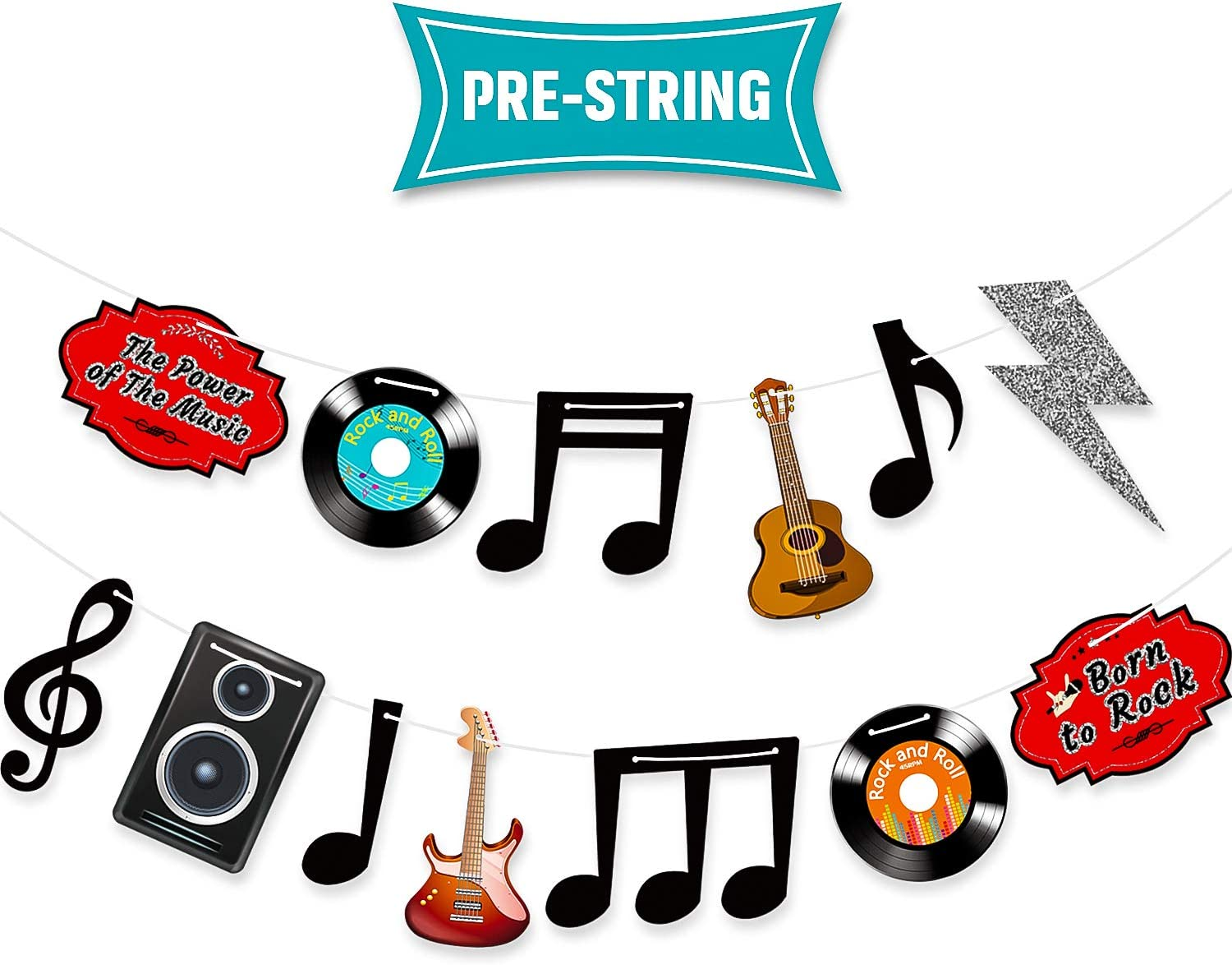 Music Note Decorations Banner 1950's Rock and Roll Party Decorations Musical Notes Silhouettes Rock and Roll Star 50s Theme Party Karaoke Music Wall Decor Cardboard Cutouts Electric Record Cutout