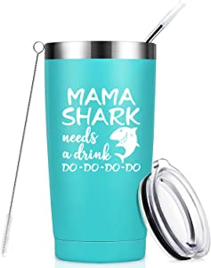 Mama Shark Needs a Drink - Gifts for Mom - Funny Birthday Gifts for Mom from Daughter, Son - Mom gifts for Christmas, Mother's Day, New Mon, Mommy, Wife, Women - 20 oz Tumbler Mug Cup - Mint