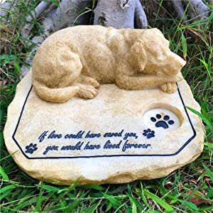 """jinhuoba Dog Memorial Stones Garden Stones with A Sleeping Dog, Outdoor Paw Print Dog Grave Markers Tombstone for Garden Backyard Patio or Lawn, Loss of Dog Gift, 8""""x7""""x3.5"""""""