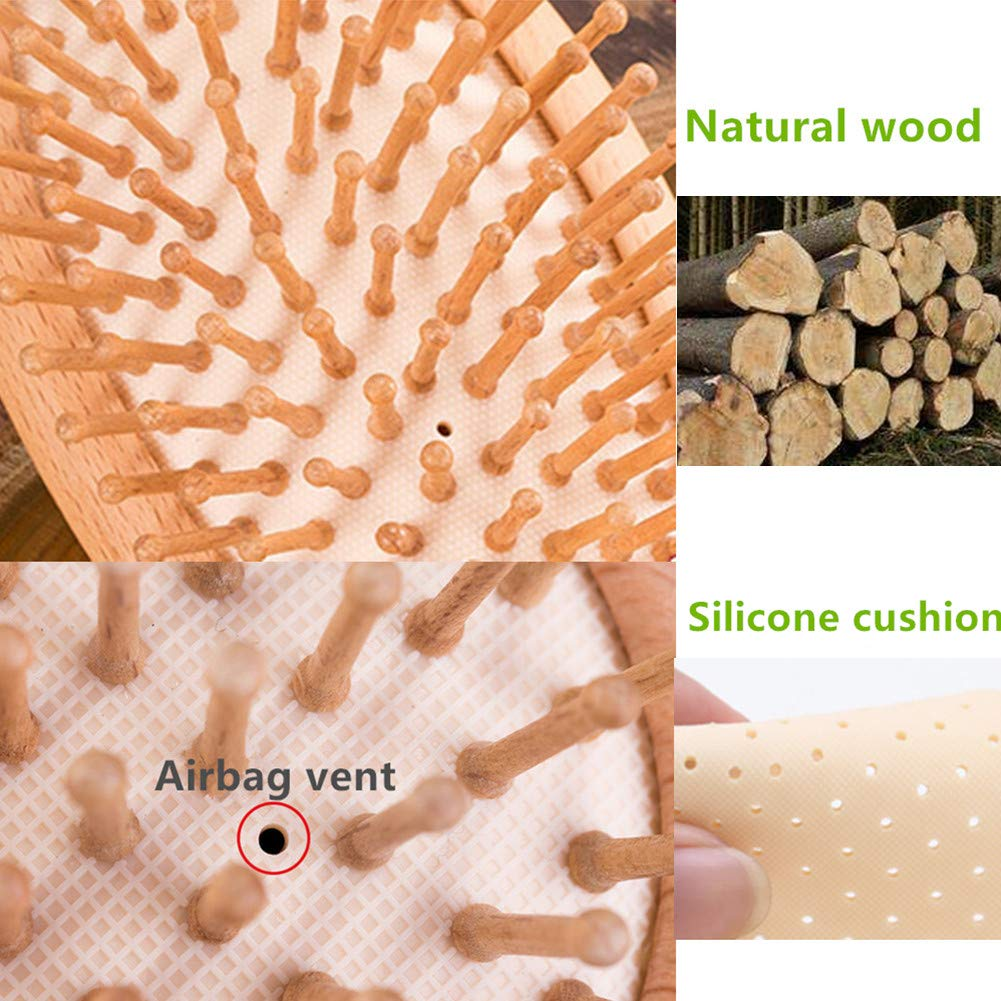 Wood Hair Brush,100% Wooden scalp brush Scalp Massage Antistatic Wooden Hair Comb Natural Wood Handle Portable Size and Fits Gift (9 in)
