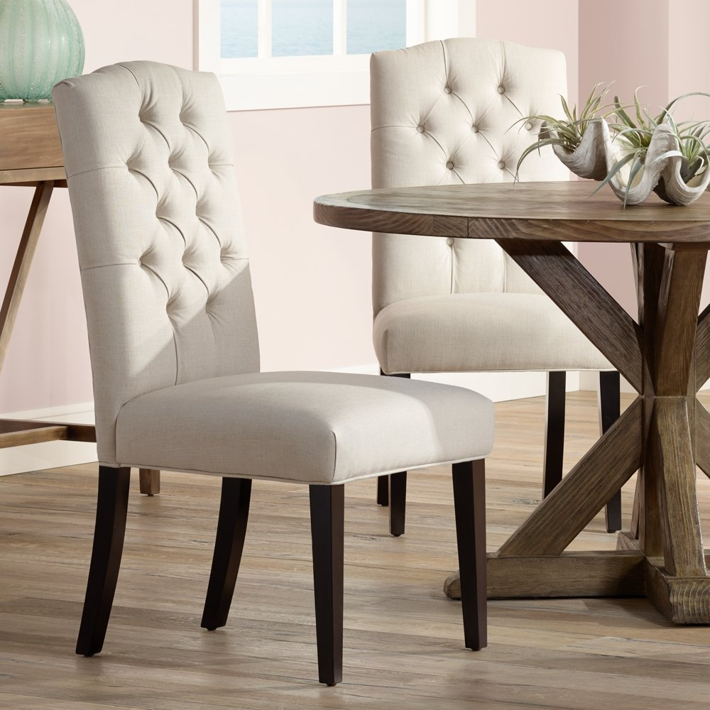 Amazon.com - Set of 2 Natural Linen Button Tufted Dining Chairs ...