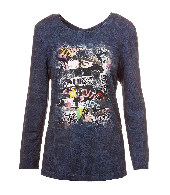 Chalou Damen Langarm Shirt Blau mit Druck Übergröße 42 44 46 48 50