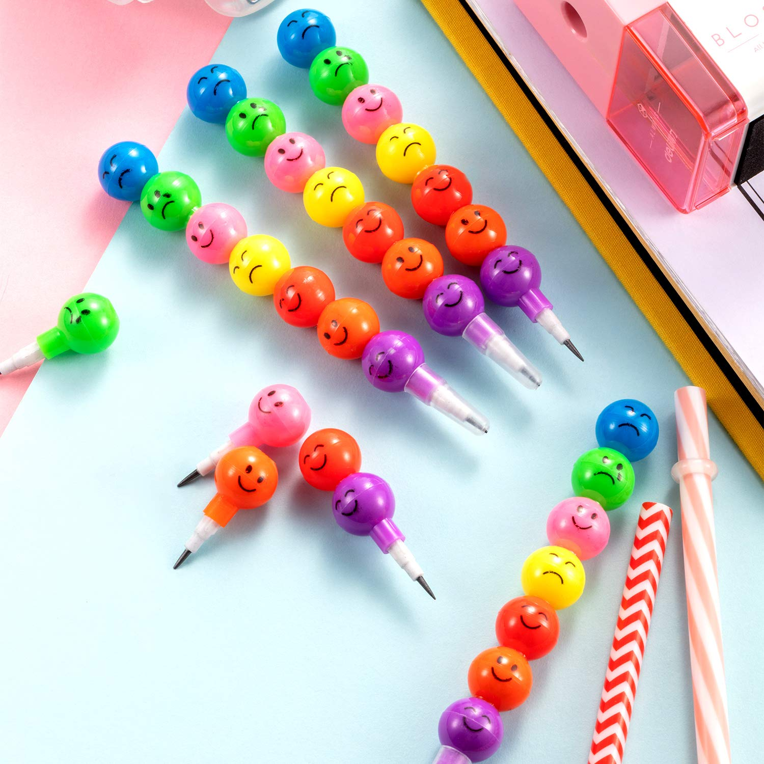 30 Pieces Cute Facial Expression Pencil Colorful Stackable Pencils with Pencil Lead Set for School Office Supplies Children