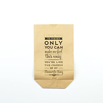 Mr. Wonderful wom00464 Pack de 5 bolsas kraft - I Love You ...