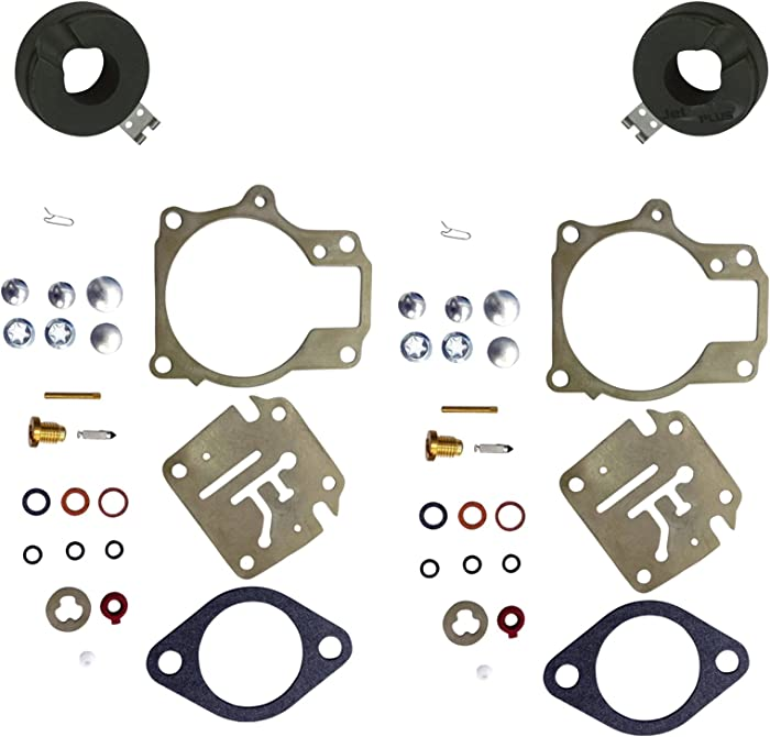 2 (Twin) Pack Deluxe Venom Brand Carburetor Carb Rebuild Repair Kit FLOAT Compatible With Johnson Evinrude MANY 18 20 25 28 30 35 40 45 48 50 55 60 65 70 75 HP Outboard Motors (SEE CHART For Fitment)