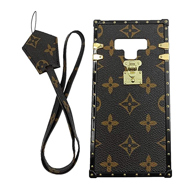 new arrivals 76d96 ca7c9 Jiehao Compatible with Samsung Galaxy Note 9 Case,Vintage Elegant Luxury  Designer Monogram PU Leather Back with Lanyard Soft Bumper Shock Trunk ...