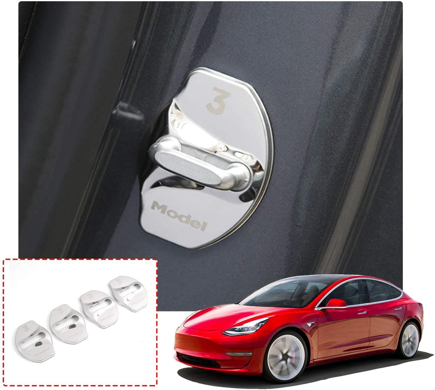 BougeRV Tesla Model 3 Stainless Steel Car Door Lock Latches Cover Protector