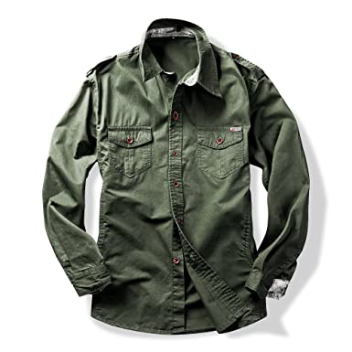 Image Unavailable. Image not available for. Color  Men s Long Sleeve  Military Style Cargo Tactical Work Shirt Army ... 43bc4a05a1fc