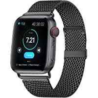 KOUUNN Compatible for Apple Watch Band 38mm 40mm 42mm 44mm, Stainless Steel Mesh Sport Wristband Loop with Adjustable Magnet Clasp for iWatch Series 1/2/3/4/5