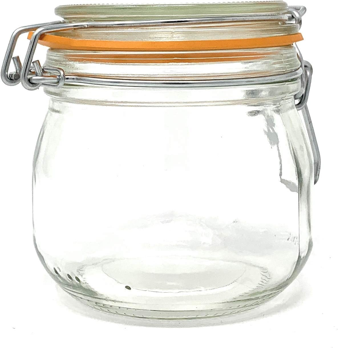 (2 Pack) 16 oz, Pint, 500 ml, Glass French Canning Jars with Stainless Steel Wire Bail. Airtight Jar. Hinged lids. Great for Canning, Food Storage, Spices, Herbs, Candles, Gifts, Candy and Bath Salts