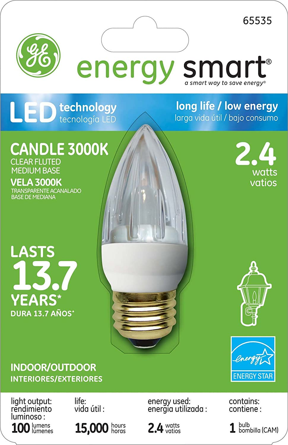 GE Lighting 65535 Energy Smart LED 2.4-Watt (15-watt replacement) 100-Lumen Fluted Candle Light Bulb with Medium Base, 1-Pack - Led Household Light Bulbs ...