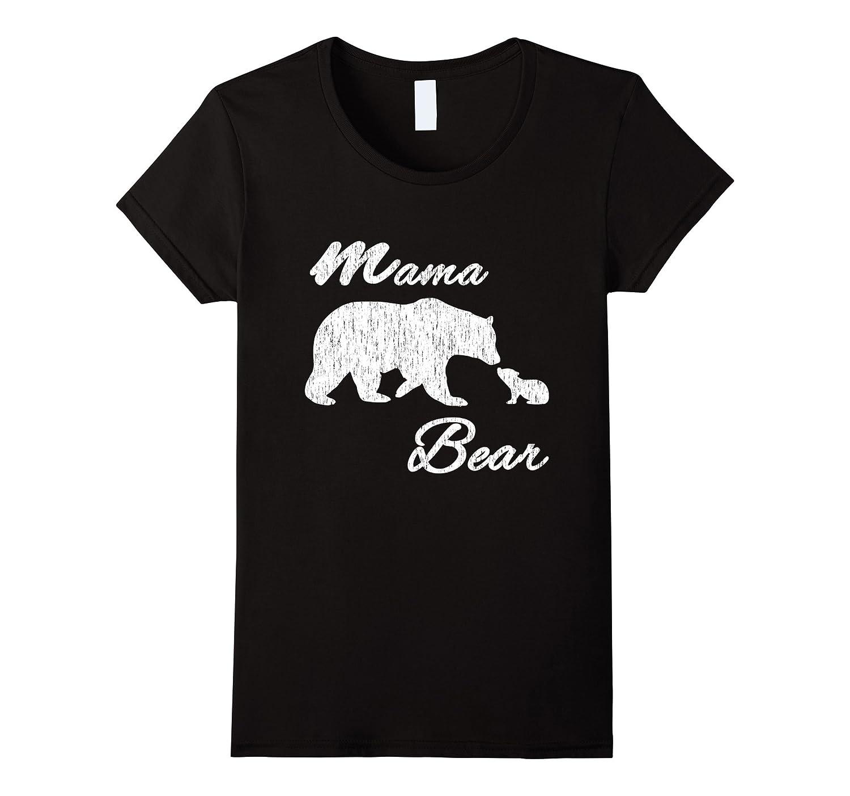 Womens Hip Mother's Mama Bear and Bear Cub Vintage Shirt-FL