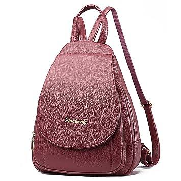 Bolso mochila de cuero PU mujeres Mochilas tipo casual bolsos de viaje bolso shopper bolso Escuela Borgoña Bolsos Mochila: Amazon.es: Equipaje