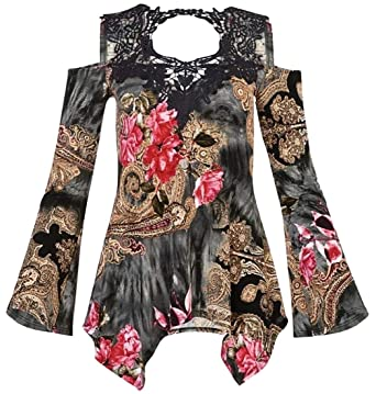 a94ff62020a33e Women Irregular Printed Lace Patchwork Bell Sleeve Cold Shoulder Blouse  Tops Black XS