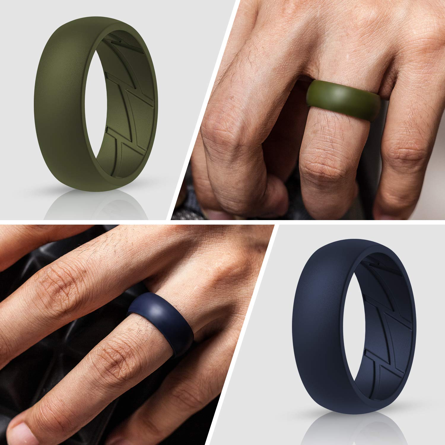 Weiji Silicone Rings for Mens with Dual Color 1 Ring Step Edge Rubber Wedding Bands 8.0mm Wide 2.5mm Thick 4 Rings 7 Rings