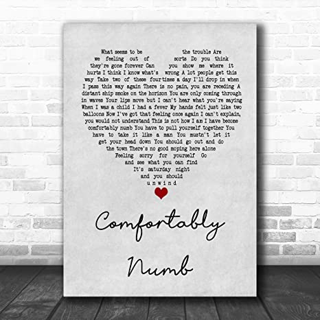 Amazon.com: Comfortably Numb Grey Heart Song Lyric Art Music ...