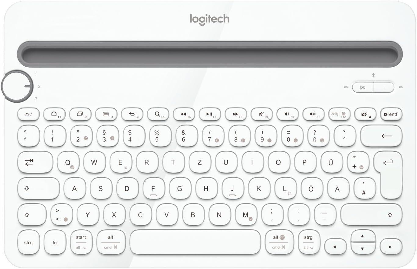 Logitech K480 Teclado Inalámbrico Multidispotivo para Windows, Apple iOS, Android o Chrome, Bluetooth, Diseño Compacto, PC/Mac/Portátil/Smartphone/Tablet, Disposición QWERTZ Alemán, Color Blanco
