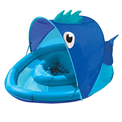 SwimSchool Blue Fun Fish Fabric Baby Pool Float, Splash & Play Activity Center, Dual Air Pillow Chambers with Retractable Canopy and Safety Seat, Baby Float, UPF 50, 6 To 24 Months, Blue: Toys & Games
