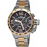 TW Steel CB133 Mens Chronograph Stainless Canteen Two-Tone Bracelet Band Black Dial Watch by