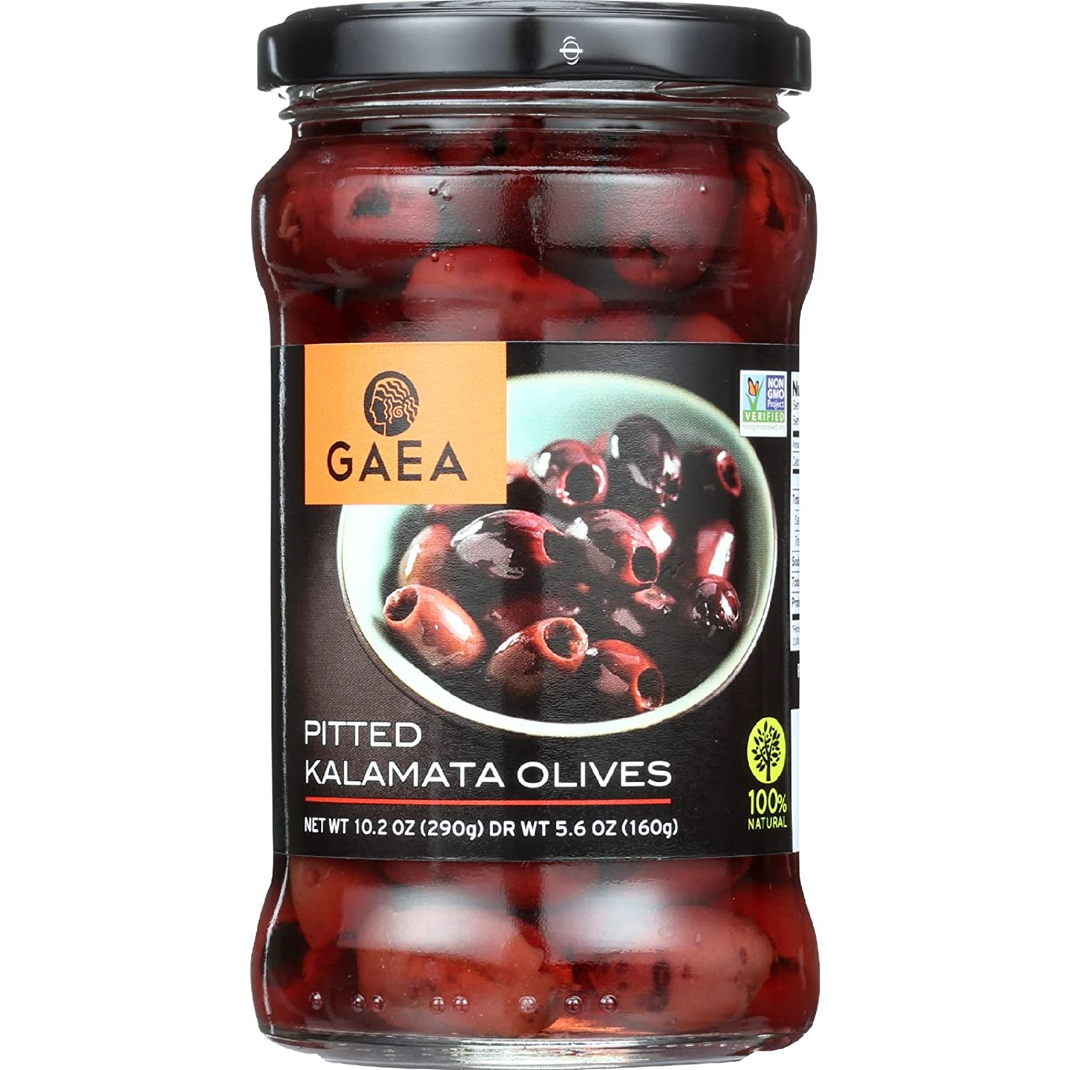 25% OFF Gaea Pitted Greek Kalamata Olives - 10.2 oz Jar - Non-GMO Preservative-Free and Low Sodium Healthy Snack