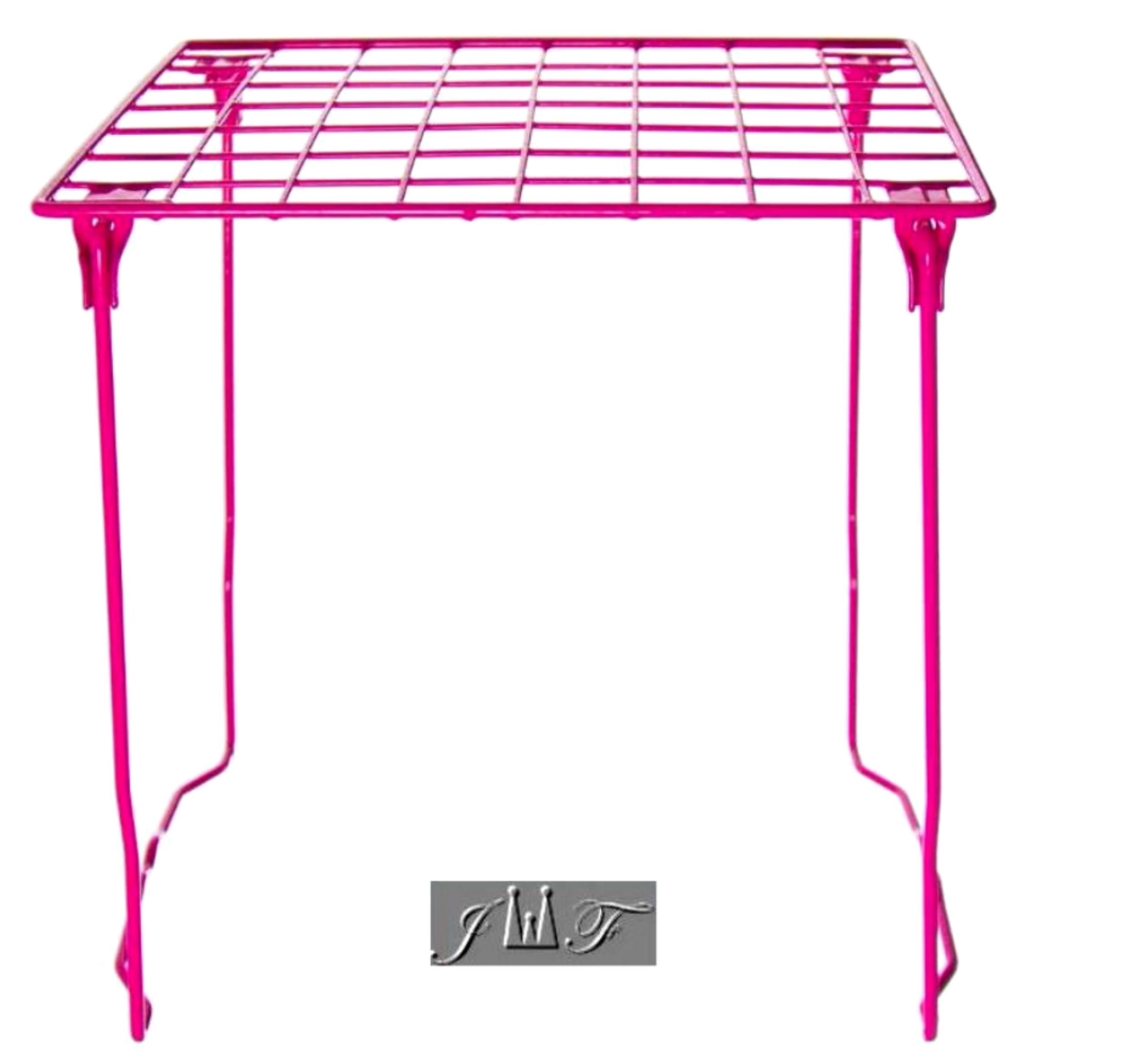 Freestanding Folding and Stackable Wire Locker Shelf Pink (12'' Pink)