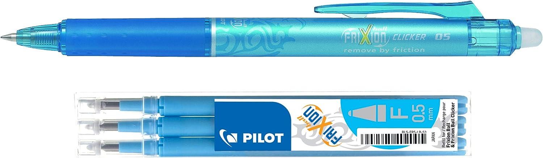 Inklusive Stift und drei 5,0-mm-Minen. Pilot Frixion Einziehbarer 0,5 mm durch W/ärme abwischbarer Mehrzweckstift und Minen-Set Violett