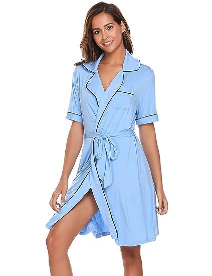 23f24ba462 Image Unavailable. Image not available for. Color  Ekouaer Cotton Bathrobes  Soft Kimono Short Sleeve Bath Robes Spa Robe Sleepwear ...