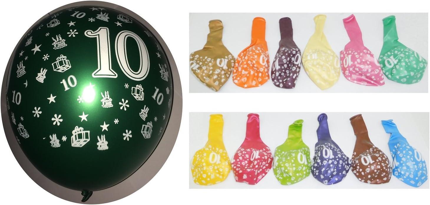 Lot 10 Ballons M/étallique 10 ans Multicolore 36cm Decoration 519