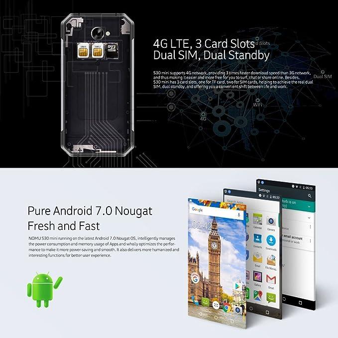 NOMU S30 Mini 4G Smartphone Android 7.0 ROM de 3 GB RAM de 32 GB 4 ...