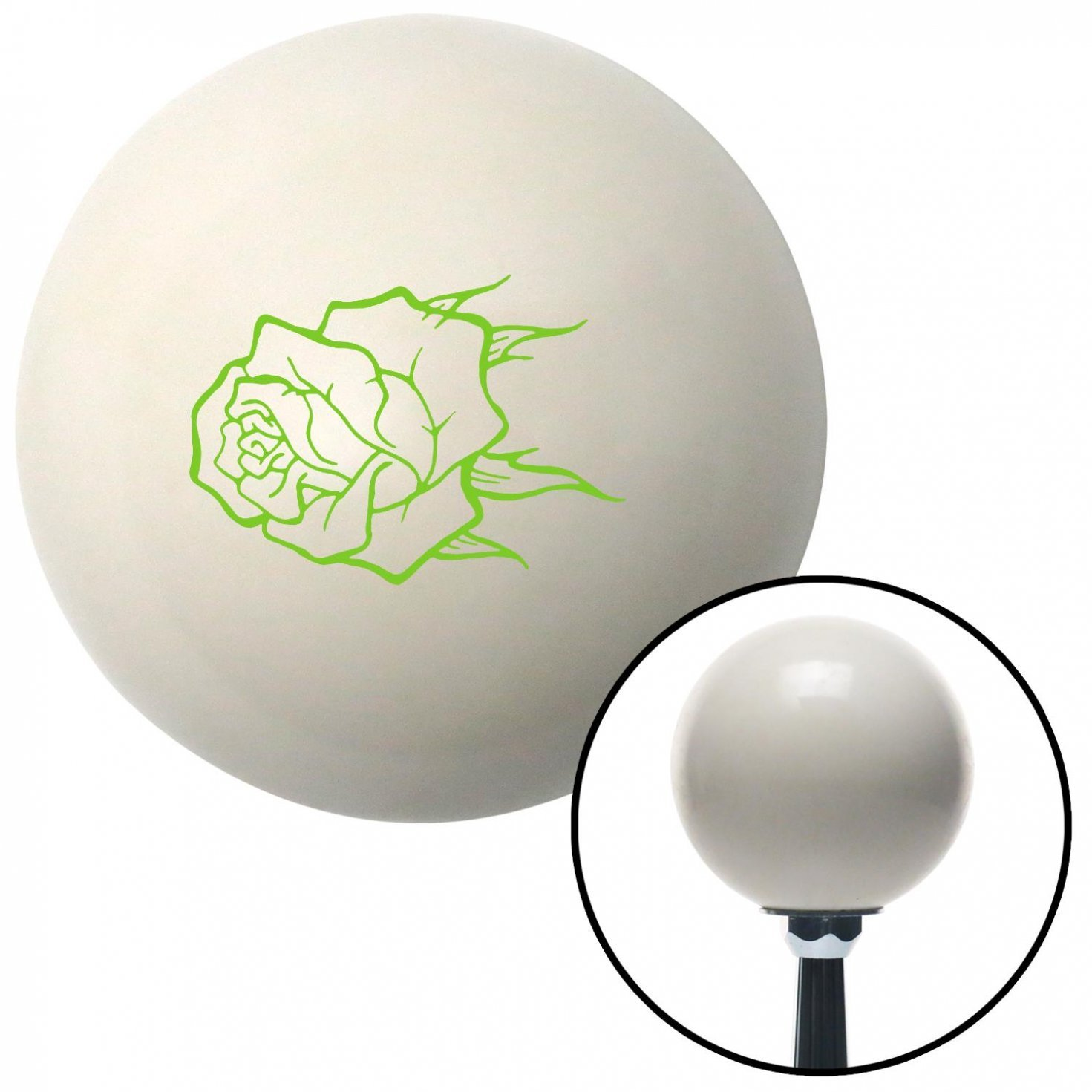 American Shifter 32171 Ivory Shift Knob with 16mm x 1.5 Insert Green Rose w//no Stem