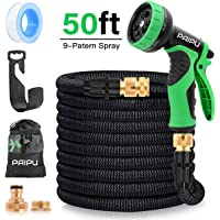 PAIPU Garden Hose, 50FT Expandable Water Hose Flexible Magic Hose Pipe with 9 Function Spray Gun/Wall Hanger/Storage Bag,Easy Storage, Anti-Leakage Lightweight for Washing/Watering/Cleaning