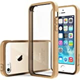 Caseology Premium Hybrid Fusion Case for Apple iPhone 5/5S Gold with DIY Clear Back and Shock Absorbent Protective Bumper (Almond Beige)