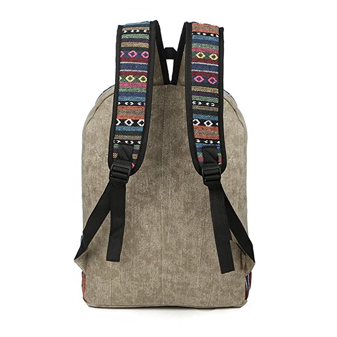 Amazon.com: Vintage School Backpack Women Schoolbags For Teenager Girls Canvas Backpacks Student Book Bag National Mochila Bolsas De Saco Brown: Clothing