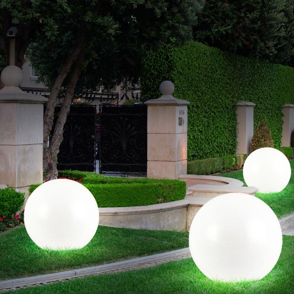 3x LED Solar Steck Lampen Kugel Garten Leuchten Terrassen Au/ßen Strahler Durchmesser 2x 15 cm 1x 10 cm