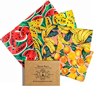 Beeswax Food Wrap by Seven Bee's, Set of 4 Fruit print (1 Large, 2 Medium, 1 Small), Reusable, Eco-Friendly, Sustainable Food Storage Wraps Made in Canada