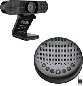 Home Office Set from EMEET Bluetooth Speakerphone Luna + eMeet 1080P HD Streming Webcam C960, Computer Speakers with Microphone, Plug and Play Webcam Idea for Home Office