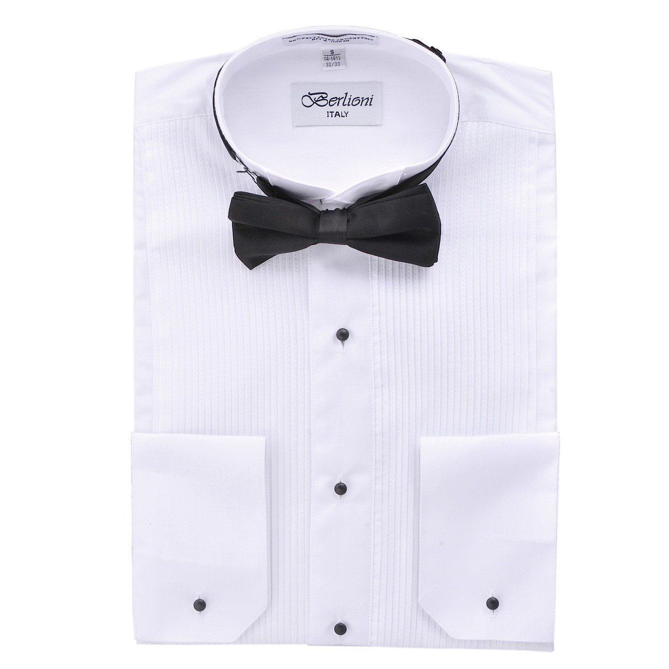 Elegant Men's Cufflink Convertible White Tuxedo Dress Shirt + Black Bowtie (Medium – 15/15.5 Neck; 32/33 Sleeves)