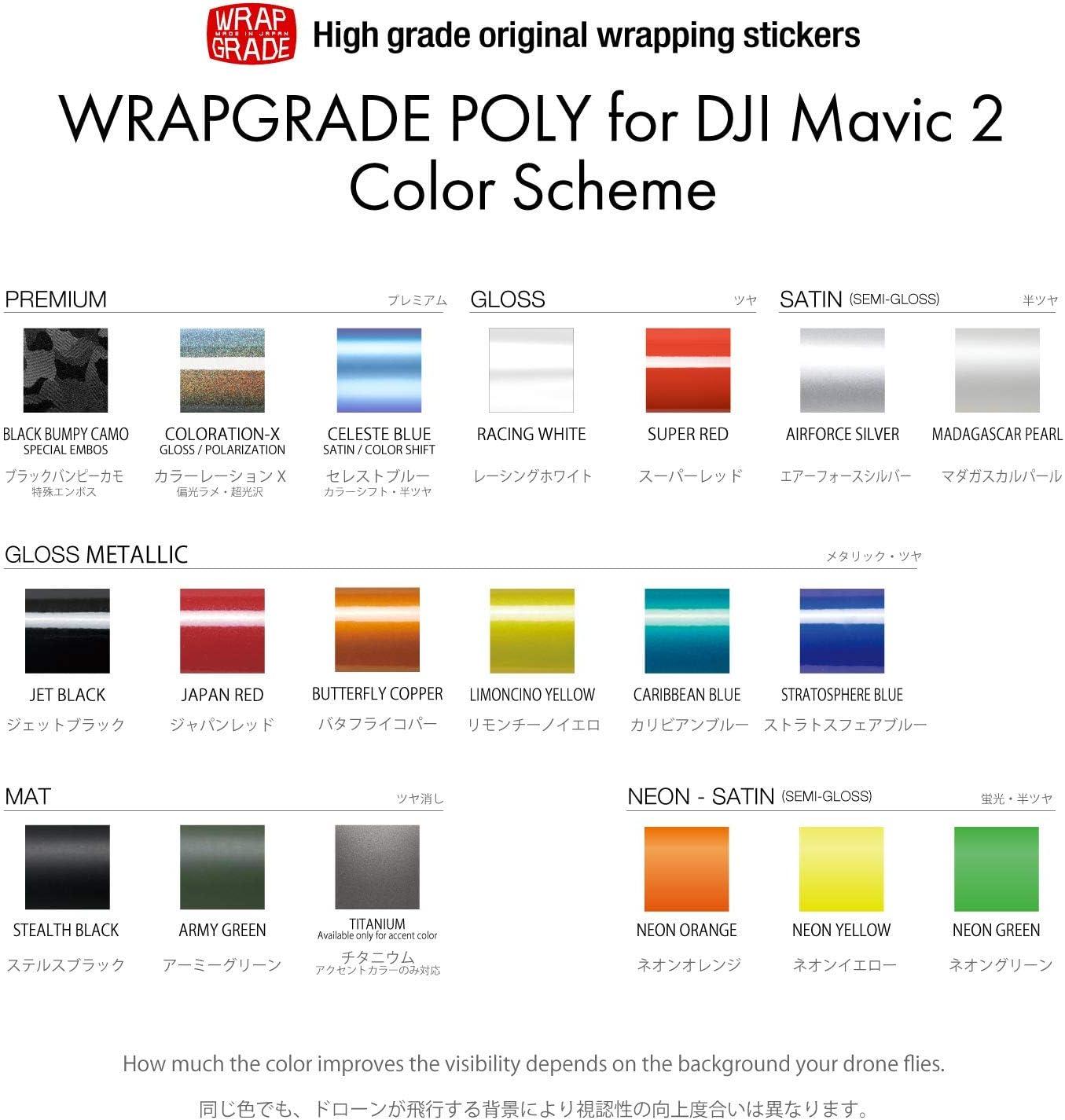 Wrapgrade Unité Principale Skin Compatible avec DJI Mavic 2 (Neon Orange) COLORATION-X