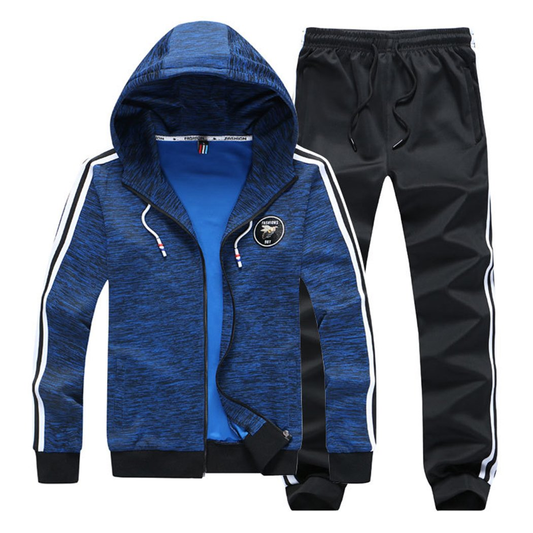 Modern Fantasy Boy's Casual Hoodie Jacket and Pants Suits Sport Activewear Tracksuit Blue XXXL