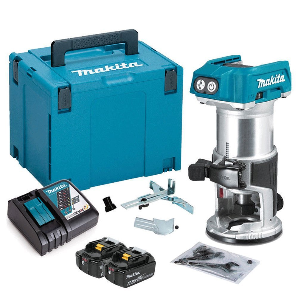 Makita DRT50ZJ 18V Brushless Router//Trimmer with 2 x 3Ah BL1830 Batteries Charger /& Case