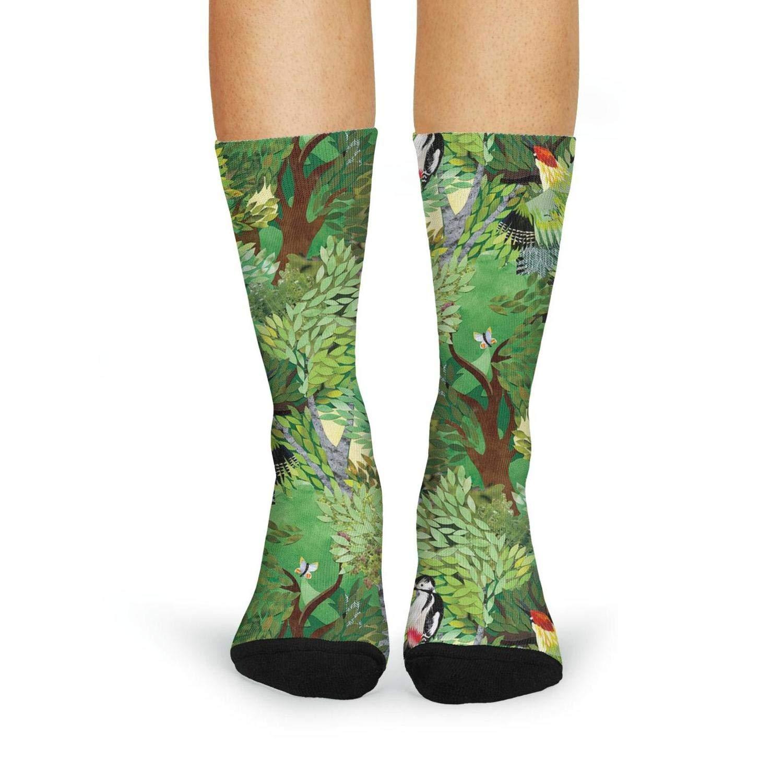 XIdan-die Womens Over-the-Calf Tube Socks woodpecker forest-01 Moisture Wicking Casual Socks