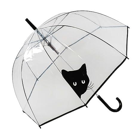 Susino Parapluie Femme Cloche/Dome Transparent - Smati (Transaprent Chat) Paraguas clásico,