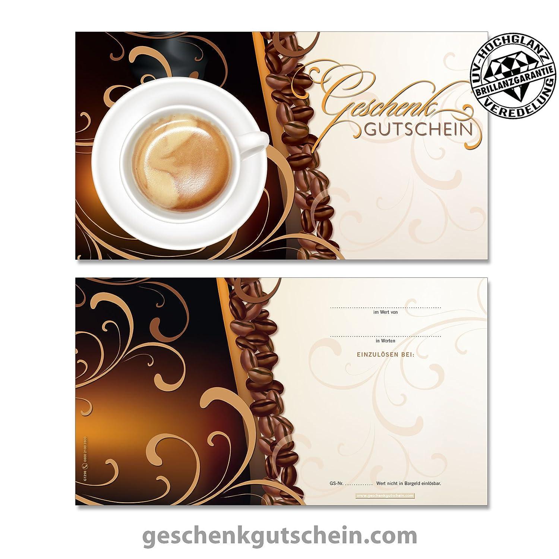 50 Stk. Hochwertige Gutscheinkarten Geschenkgutscheine + 50 Stk. Kuverts fü r Kaffeehä user, Bä ckereien, Café s G1298, LIEFERZEIT 2 bis 4 Werktage! geschenkgutschein.com