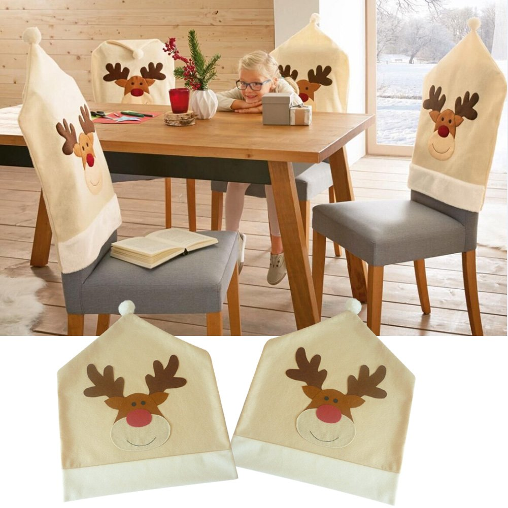 Luerme Christmas Chair Seat Back Covers Cute Elk Xmas Dining Chair Party Decor